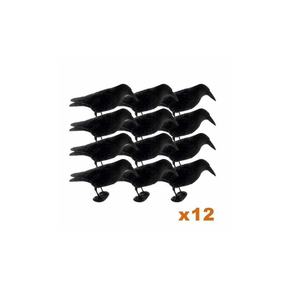 Formes de corbeau floquée sur patte x12