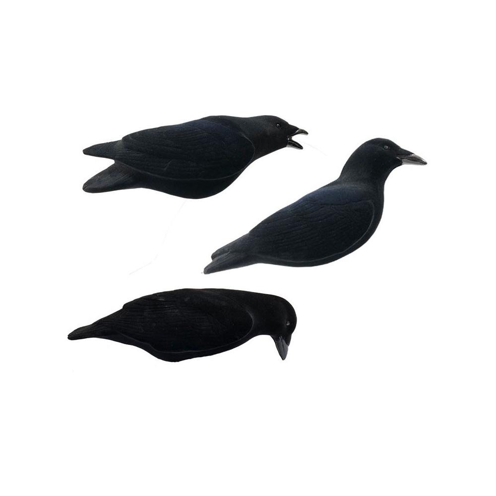 Formes de corbeaux floquées magnums x3