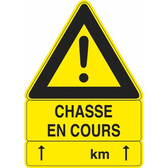 "Panneau Triangulaire Type ""Dde"" - ""Chasse En Cours"""